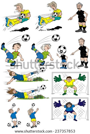 Cartoon soccer players, female and male