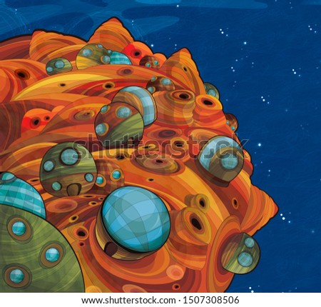 Cartoon space - surface of some asteroid with some city on it - astronomy for kids - illustration for children