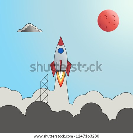 Cartoon spacecraft takes off into space.