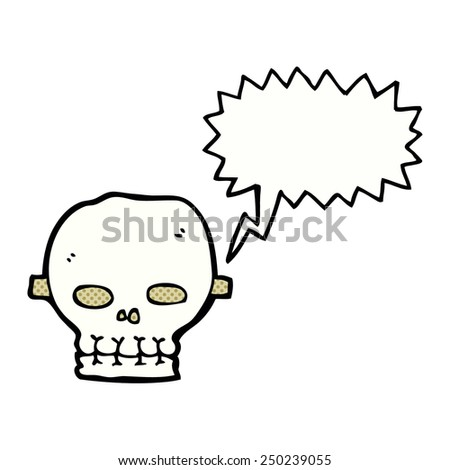 cartoon spooky skull mask with speech bubble