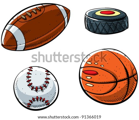 Cartoon sports set with football, hockey puck, baseball and basketball.