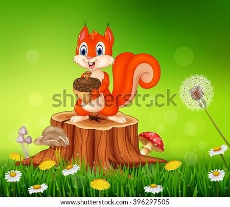 Cartoon squirrel holding pine cone on tree stump in summer season background