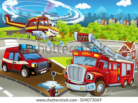 stock photo cartoon stage with different machines for firefighting colorful and cheerful scene illustration 504073069 - Каталог — Фотообои «Для детской»