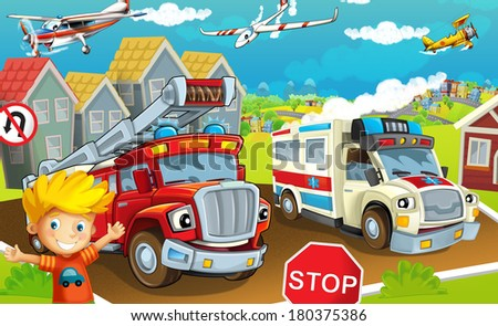 stock photo cartoon street illustration for the children 180375386 - Каталог — Фотообои «Для детской»