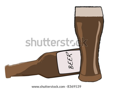Cartoon style Beer bottle and glass