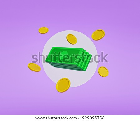 cartoon style cash and floating coins. minimal money sign. 3d rendering