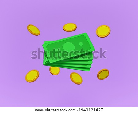 cartoon style cash and floating coins. minimal money sign. 3d rendering Stock photo ©