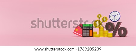 cartoon style coins, calculator and percentage icon. business Investments, money savings and financial profit concept. horizontal banner with copy space. 3d rendering stock photo