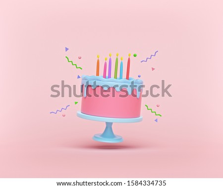 cartoon style Flying Birthday cake with candles isolated on pastel background. Levitation. colorful minimal design. 3d rendering