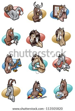 Cartoon-style humorous illustration of the twelve signs of horoscope  as horses
