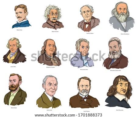 Cartoon style illustration of famous world scientists. Foto stock ©
