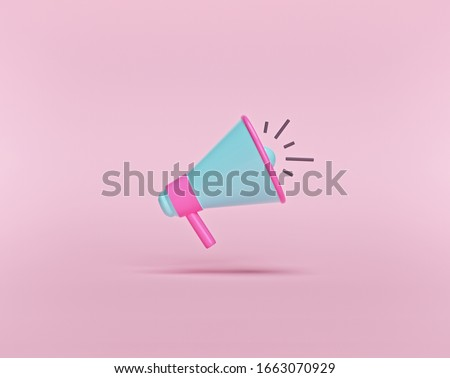 cartoon style, minimal Megaphone isolated on pastel pink background. business promotion, announcement, advertising concept. 3d rendering