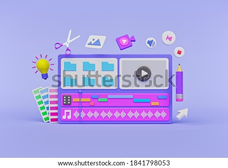 cartoon style minimal video clip editing timeline window. Concept of video production. 3d rendering Photo stock ©