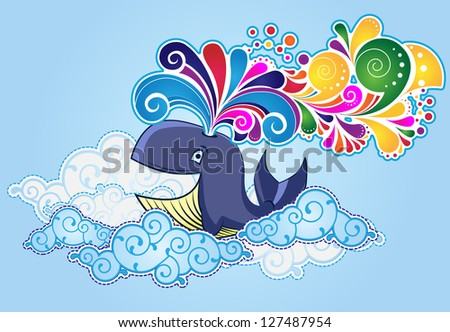 Cartoon style whale  flying in the sky and bursting rainbow