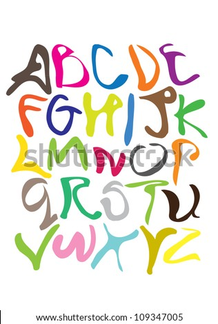 Cartoon styled alphabet font with different colors
