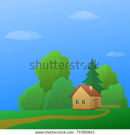 cartoon, summer landscape: country house in forest near to trees