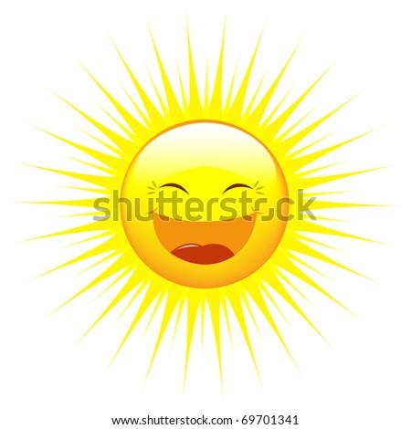 Cartoon Sun, Isolated On White Background