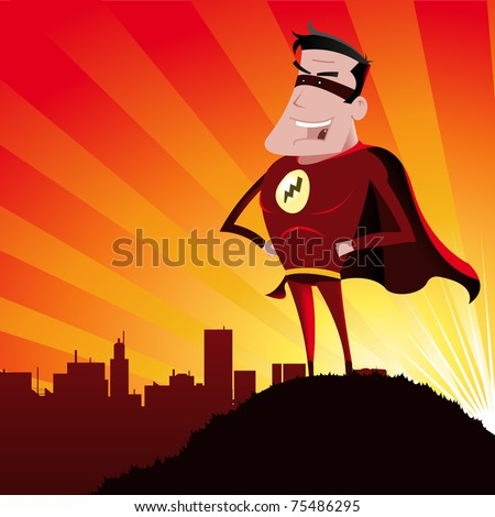 Cartoon super hero/ Illustration of a funny super hero
