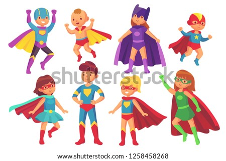 Cartoon superhero kids characters. Joyful kid wearing super hero costume with mask comic glasses and cloak for brave recreation. Children superheroes cute flying costumes colorful isolated  set