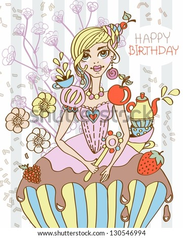cartoon sweet queen illustration can be used for holiday or birthday design