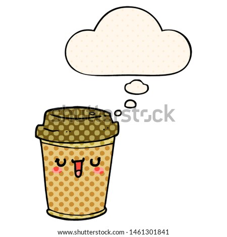 cartoon take out coffee with thought bubble in comic book style #1461301841