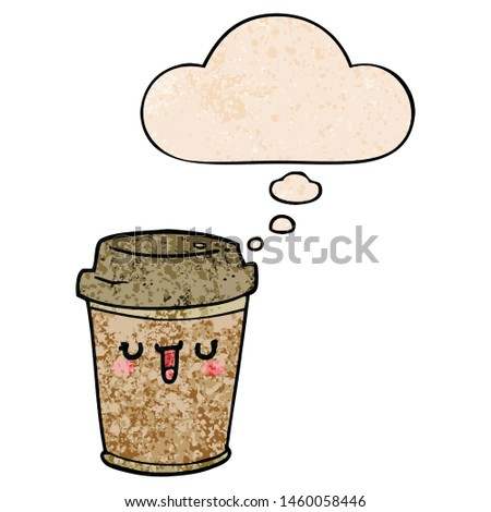 cartoon take out coffee with thought bubble in grunge texture style #1460058446
