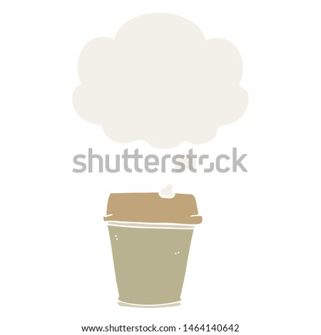 cartoon take out coffee with thought bubble in retro style #1464140642
