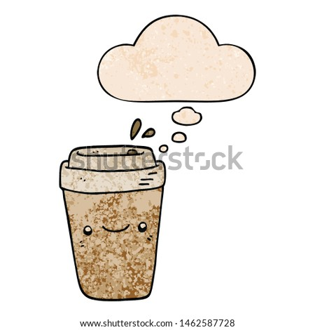 cartoon takeaway coffee with thought bubble in grunge texture style #1462587728