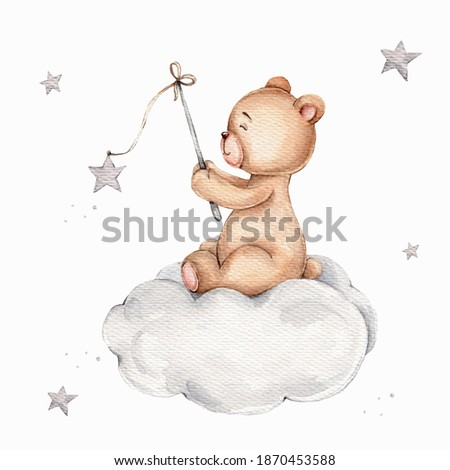 Cartoon teddy bear sitting on cloud and catching stars; watercolor hand draw illustration; can be used for kid posters; with white isolated background ストックフォト ©