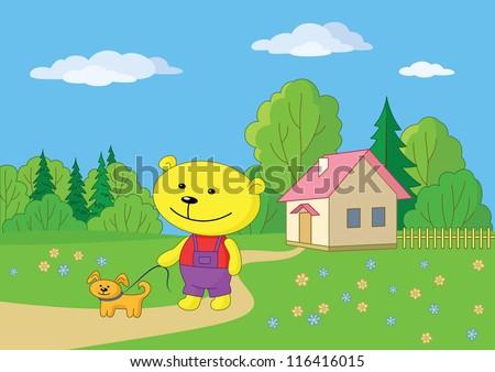 Cartoon teddy bear walking with a dog near a village house. Vector