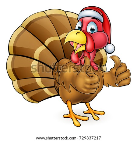 Cartoon Thanksgiving or Christmas turkey bird wearing a Santa Claus hat and giving a thumbs up