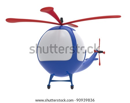 Cartoon toy helicopter isolated on white background.