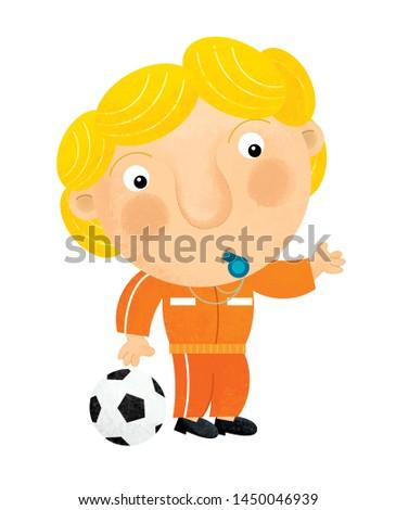 cartoon trainer or footballer on white background illustration for children