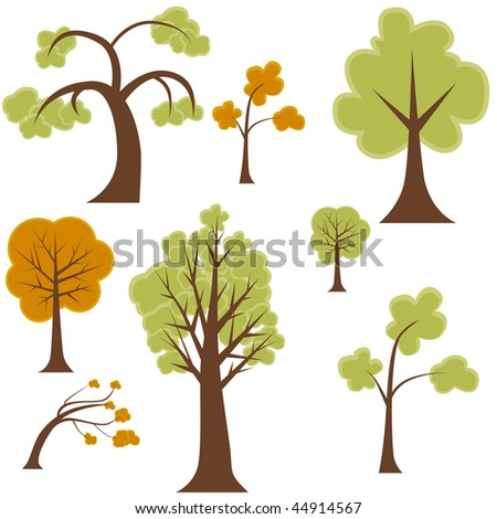 Cartoon tree set isolated on a white background.