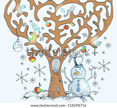 Cartoon tree with birds and snow, card for Christmas or New Year design