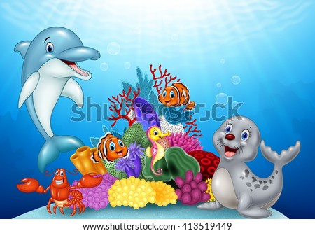 Cartoon tropical fish with Beautiful Underwater World #413519449