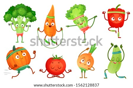 Cartoon vegetables fitness. Vegetable characters workout, healthy yoga exercises food and sport vegetables. Yoga poses, kawaii sport vegetable. Isolated  illustration icons set
