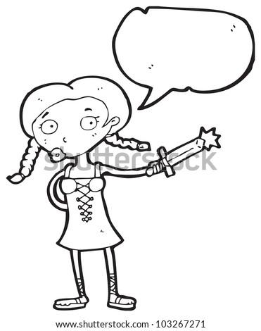 cartoon viking girl with sword