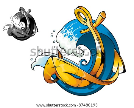 Cartoon vintage anchor in sea water for tattoo design, such a logo. Vector version also available in gallery