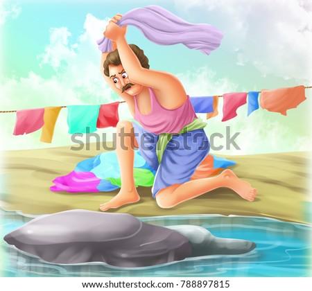 Cartoon washer man illustration
