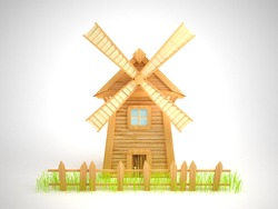 Cartoon windmill with a sagging fence and grass. White background