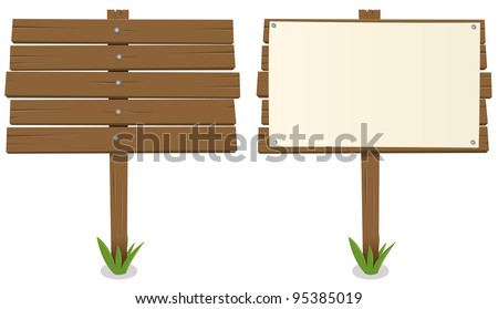 Cartoon Wood Board/ Illustration of a cartoon rustic wood billboard with and without sign