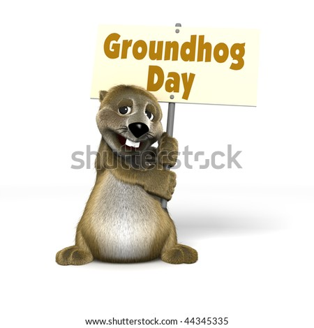 holding Groundhog Day Sign