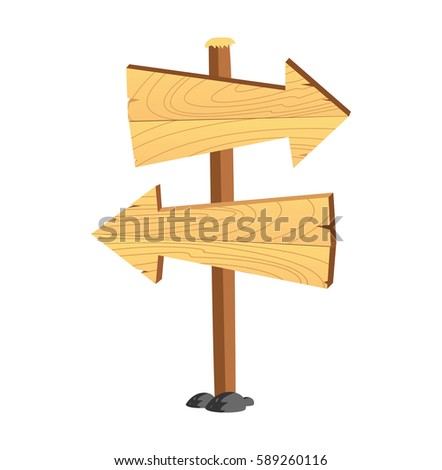 Cartoon wooden signboard isolated on white background #589260116