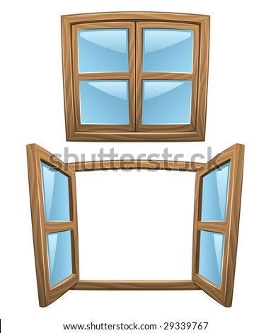 Cartoon wooden windows - closed and open