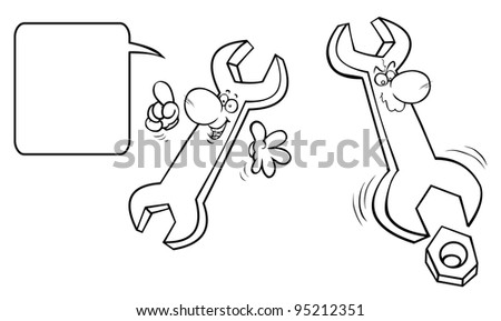 Cartoon wrenches. Outline drawing.