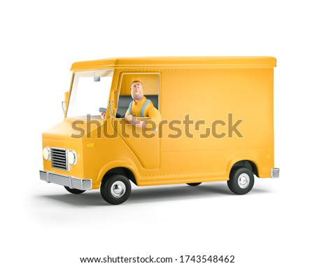 Cartoon yellow car with driver character. Truck delivery service and transportation. 3d illustration.