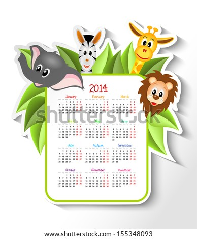 cartoon zebra elephant giraffe and lion with calendar 2014 illustration bitmap copy