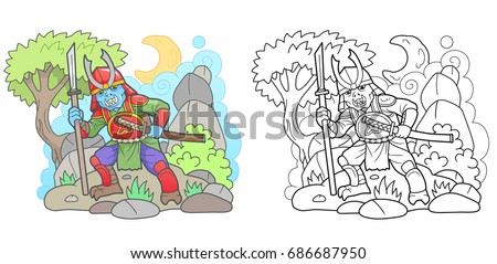 Stock Photo cartoon zombie samurai, funny picture