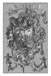Cartouche of scroll with a variant for the right half, at the top left hangs a canopy, at the bottom of Medusa's head. At the bottom left and right are two wall arms